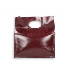 Shopping bag handhold raw-cut bordeaux calf with shoulder belt size 35x14h39 cm.