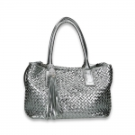 Silver intrecciato calf mid handbag with det. shoulder belt and charms size 33x16H27 cm.