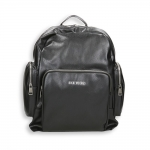 Black faux leather double pocket zipped backpack