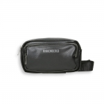 Black eco leather double zip logo belt bag