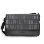 Black eco leather logo messenger bag size 40x10h28 cm.