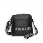 Black eco leather logo reporter with shoulder strap